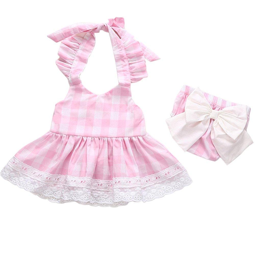 Covermason Bebé Niñas Princesa Bowknot Cordón Vestir y Pantalones cortos(1 Conjuntos) (12-18M, Rosado): Amazon.es: Ropa y accesorios