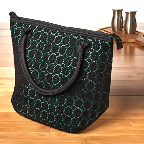 fit-fresh-luxurious-lace-chicago-insulated-lunch-bag-emerald-black-lace