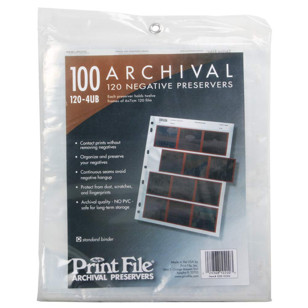 100x Print File 6x7 120 Format Film Negatives Pages Sleeves Archival Preservers by Print File