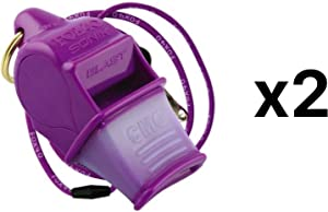 Fox 40 Sonik Blast CMG Whistle w/ Lanyard Referee Dog Purple (2-Pack)