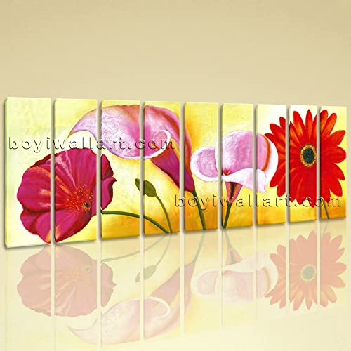 Amazon.com: Huge Red Flower Painting Wall Art Classic Living Room ...