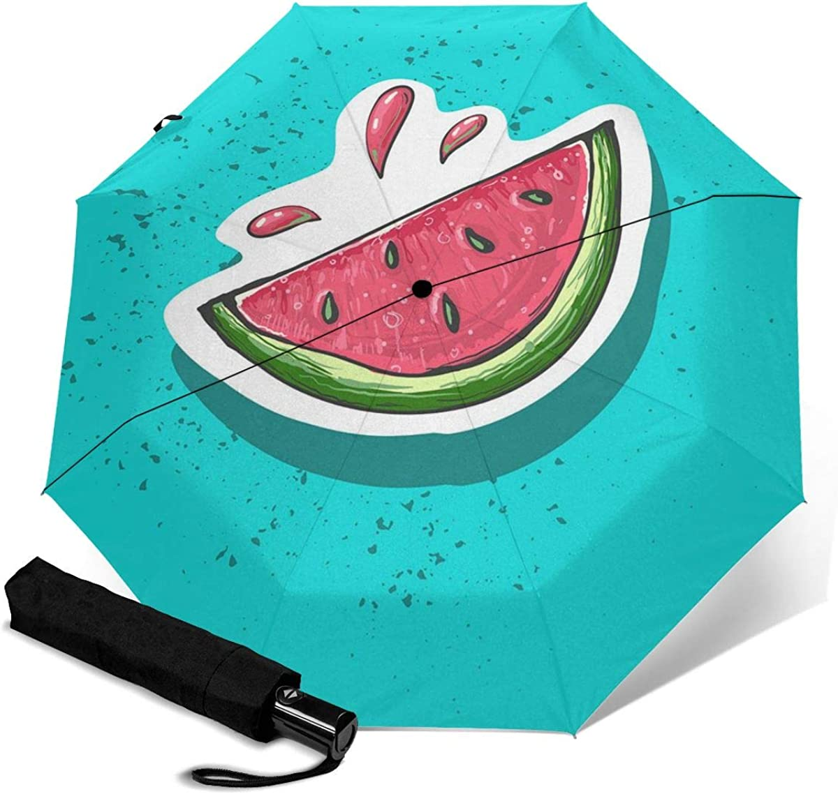 Watermelon Fruit Pattern Compact Travel Umbrella Windproof Reinforced Canopy 8 Ribs Umbrella Auto Open And Close Button Personalized