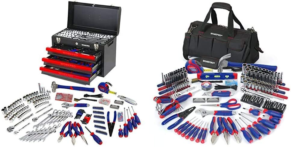 WORKPRO 408-Piece Mechanics Tool Set with 3-Drawer Heavy Duty Metal Box, W009044A & W009037A 322-Piece Home Repair Hand Tool Kit Basic Household Tool Set with Carrying Bag