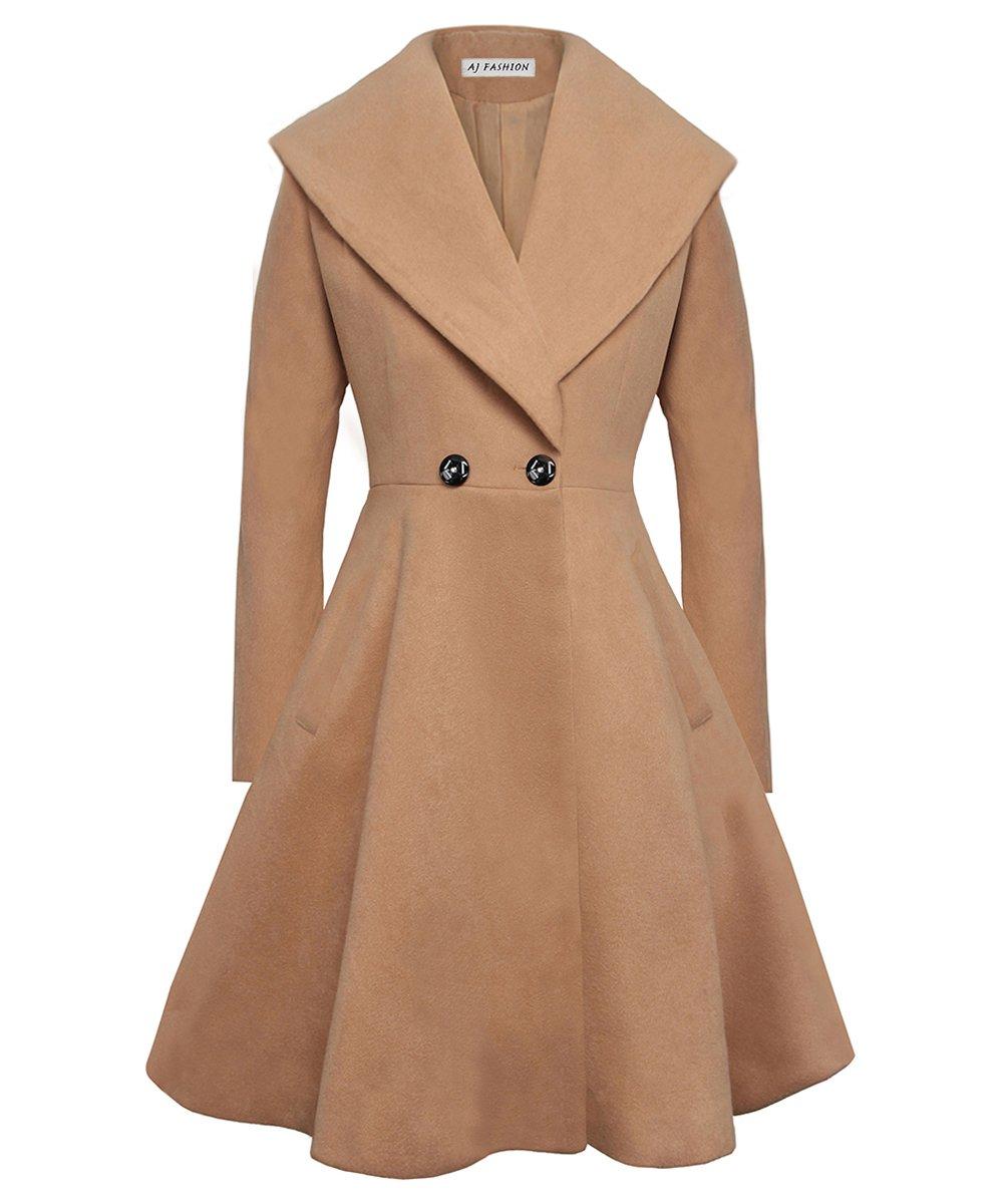 Begonia.K Women's Wool Trench Coat Lapel Wrap Swing Winter Long Overcoat Jacket, Camel, US XL=Tag 2XL