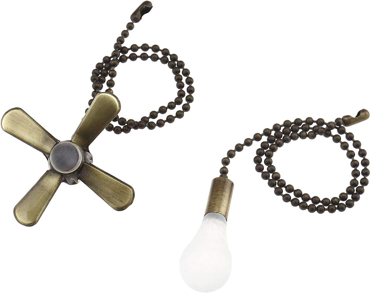 YINETTECH 2 unidades de cadena de metal con cuentas de 30 cm de extensión de cadena con mini ventilador colgante para ventiladores de techo, luces de bronce