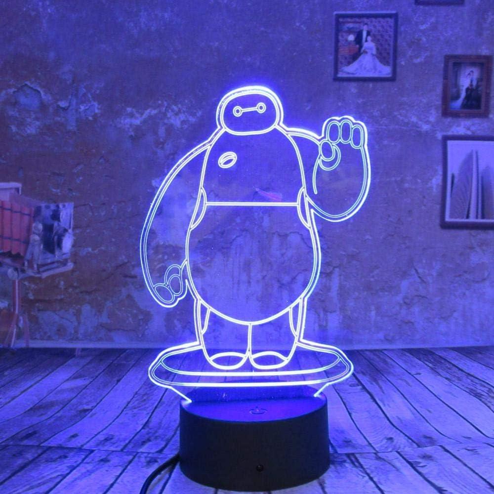 BFMBCHDJ Creative Girl Boys Gifts Baymax 3D Night Light LED 7 colores Cambiar Touch Remote USB Dormitorio de niños junto a la luz Decoración de cumpleaños: Amazon.es: Iluminación