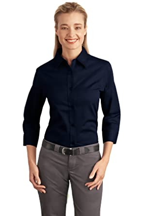 be264150771 Port Authority Women's 3/4 Sleeve Easy Care Shirt at Amazon Women's Clothing  store: