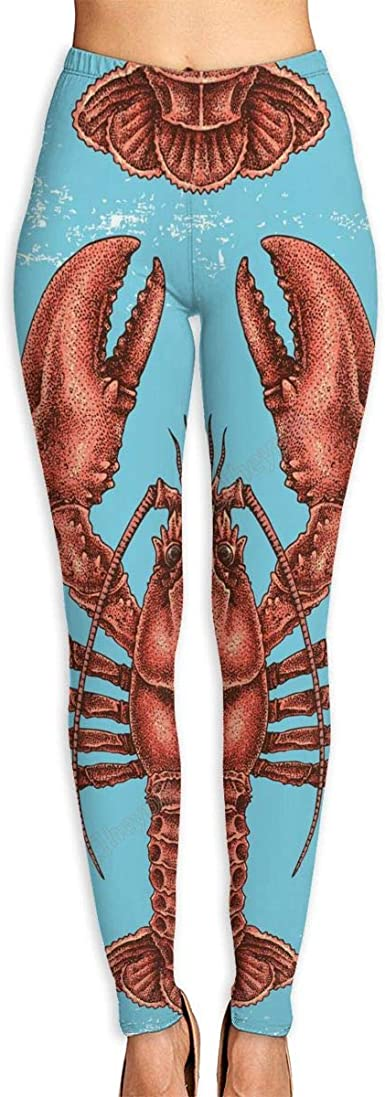 Lobsters and Crabs on Blue Yoga Leggings
