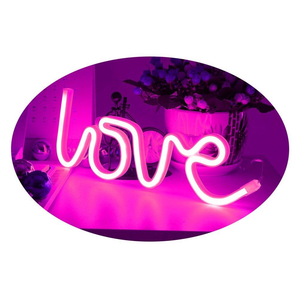 Amroe 2018 Christmas Light Love Heart Light Tube Neon Romance Atmosphere Artifact LED Waterproof Lamp Room Decoration Gift (Pink)