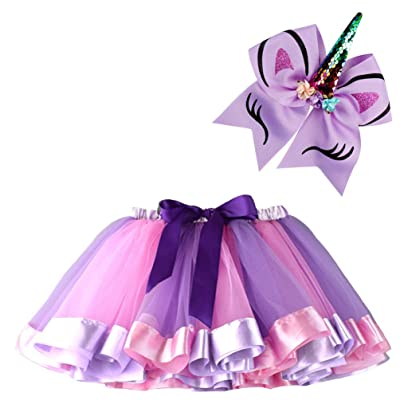 BGFKS Layered Ballet Tulle Rainbow Tutu Skirt for Little Girls Dress Up with Matching Sparkly Unicorn Hairbow: Clothing