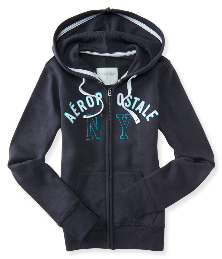 Aeropostale Women's Aero 1987 New York Full-Zip Hoodie (X-Large, Storm Grey)