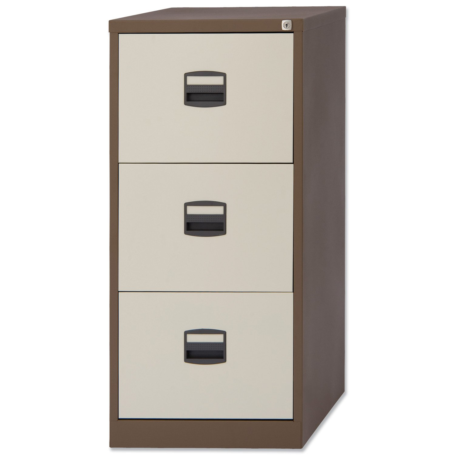 Trexus Filing Cabinet Steel Lockable 3 Drawer W470xD622xH1016mm Brown And  Cream: Amazon.co.uk: Kitchen U0026 Home
