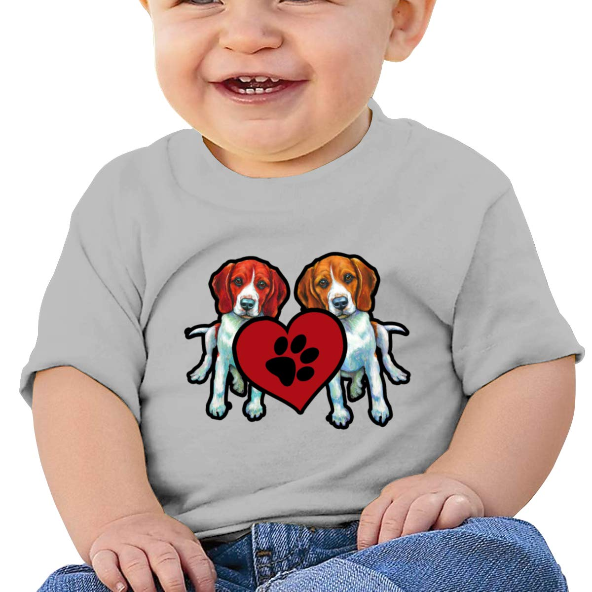 Arsmt Beagle Dogs Heart Infan Short Sleeve Tshirt Girls Birthday Gift