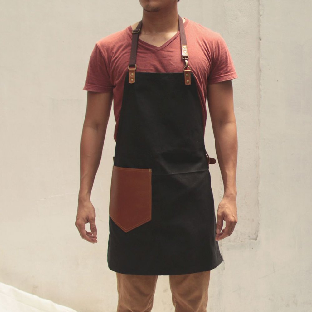 Handmade Waxed Canvas Apron with Leather Straps | Water Resistant Artisan Aprons by Gouache (Black)