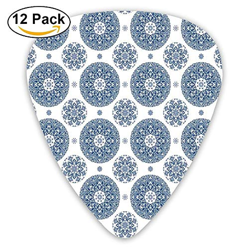 French Country Style Floral Circular Pattern Lace Ornamental Snowflake Design Guitar Picks 12/Pack Set
