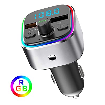 QC 3.0 FM Transmitter Bluetooth for Car, GaoMee V5.0 Radio Transmitter with 7-Color LED Backlit, Hands-Free Calling, 2 USB Charge Ports, Support U Disk/TF Card: MP3 Players & Accessories
