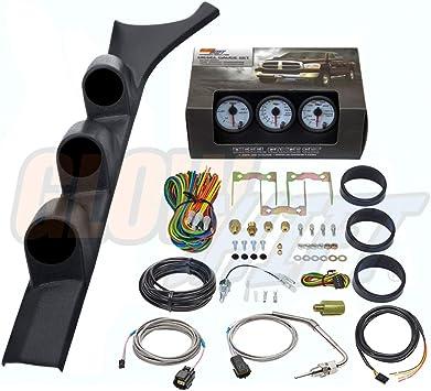 1500 F Pyrometer EGT /& Transmission Temp Gauges Tinted 7 Color 60 PSI Boost GlowShift Diesel Gauge Package for 1986-1993 Dodge Ram Cummins First 1st Gen Black Triple Pillar Pod