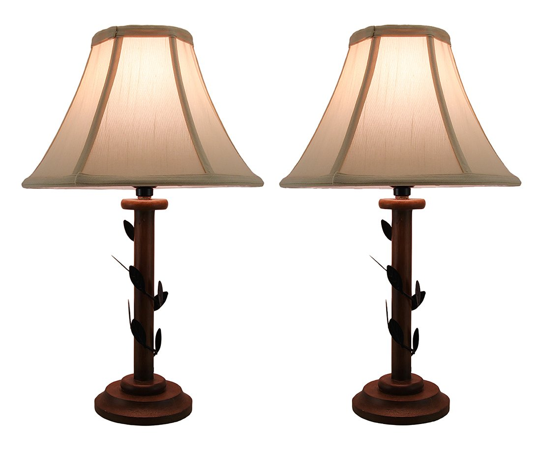 Set of 2 Climbing Ivy Vine Decorative Candlestick Lamps w Fabric Shade 16 Inch