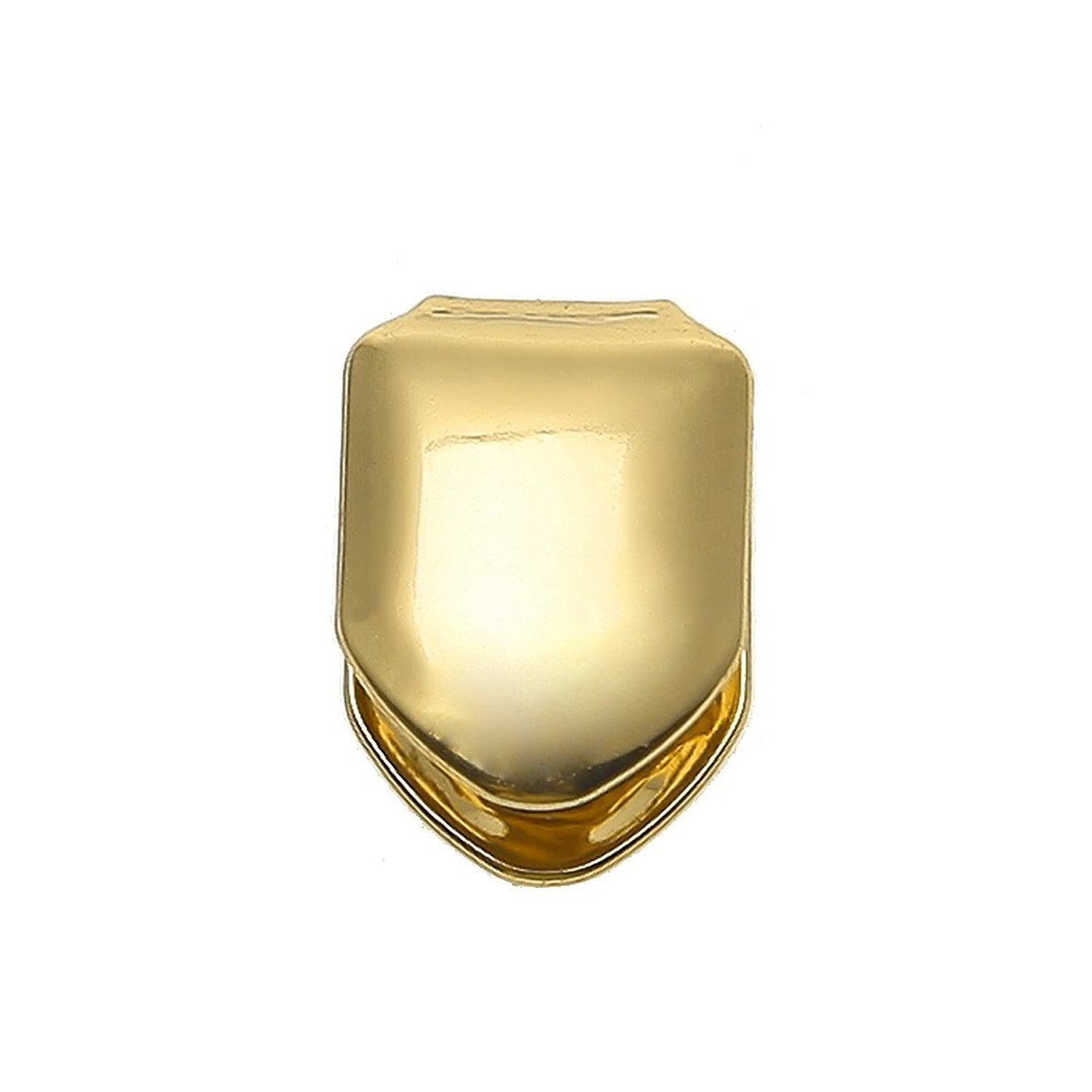 The Bling Factory 24K Gold Plated Removable Single Tooth Grill Cap + Polishing Cloth