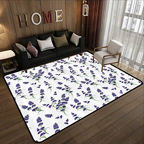 Bath Rugs,Flower House Decor,Watercolor Lavender Flowering Fragrant Pale Plant Essential Oil Extract Temperate,Violet Green 71