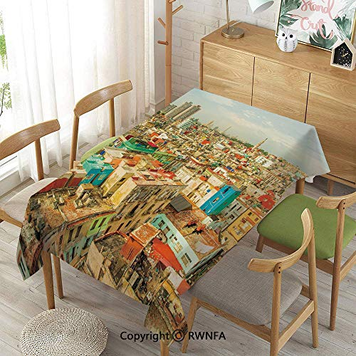 Homenon Tablecloth for Dining Room for Rectangle Tables,Panorama of Havana City Vedado District in Cuba Old Colorful Houses Historic Decorative,Waterproof Wrinkle Resistant,Multicolor,52