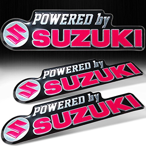 (Pack of 2) Metal 3D Brush Aluminum Emblem Logo + Letter for Suzuki Fairing Sticker (Hot Pink) Hot Pink Sidekick