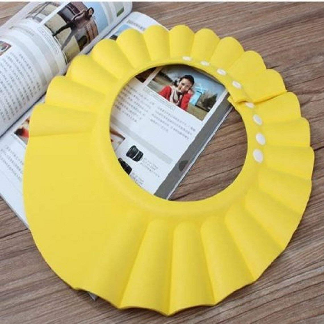 Yevison 1Pc Safe Shampoo Shower Bathing Bath Protect Soft Cap Hat for Baby Yellow Durable and Useful