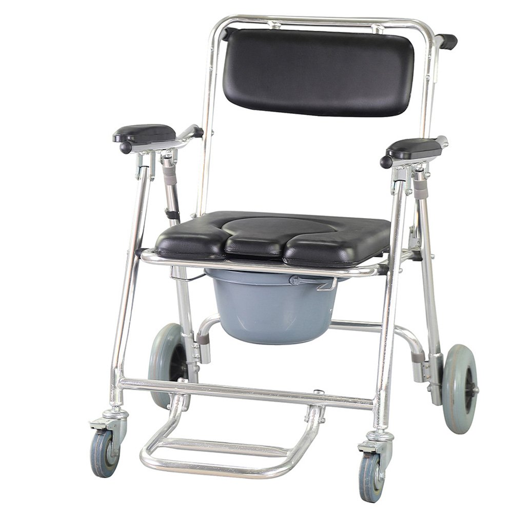 Genmine Mobile Commode Wheelchair With Assistive Seat Shower Toilet Chair with 4 Brakes and Padded Toilet Seat Wheels & Footrests Bedside Shower Transport Chair With Arms SHIPPING FROM US
