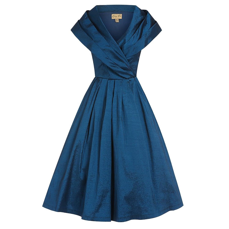 Vintage Cocktail Dresses, Party Dresses, Prom Dresses Lindy Bop Amber Midnight Blue Occasion Swing Dress $52.00 AT vintagedancer.com