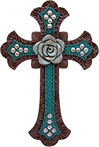 Wowser Cast Resin Teal Floral Pattern Hanging Wall Cross with Blue Rose Centerpiece, 13 1/2 Inch