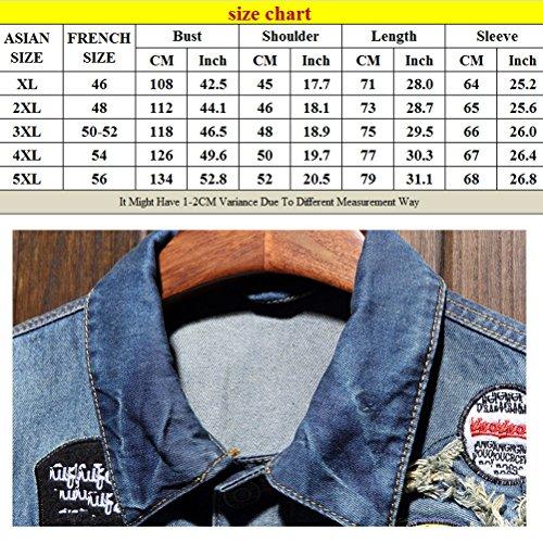 Blue Dark Mens Size Classic 5XL Turn Spring XL Jacket Cómodo Denim Coat Summer Down Collar Zhhlaixing 6BwZn