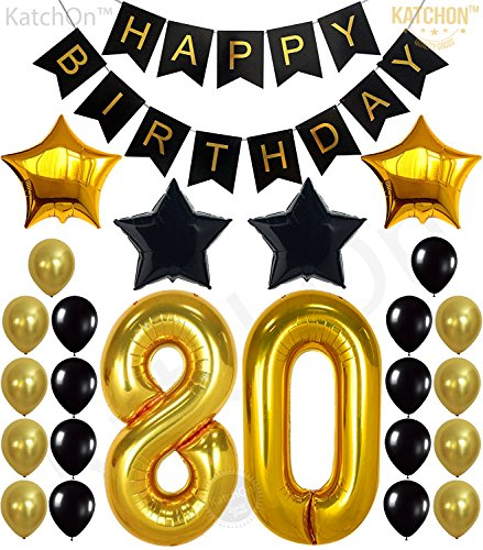 KATCHON 80th Birthday Decorations Party Supplies - Large Number 80 | Happy Birthday Banner | Black and Gold Balloons | 80th Birthday Party Decorations Kit | Great for 80 Year -