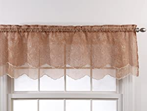 Stylemaster Renaissance Home Fashion Reese Embroidered Sheer Layered Scalloped Valance, 55-Inch by 17-Inch, Mocha