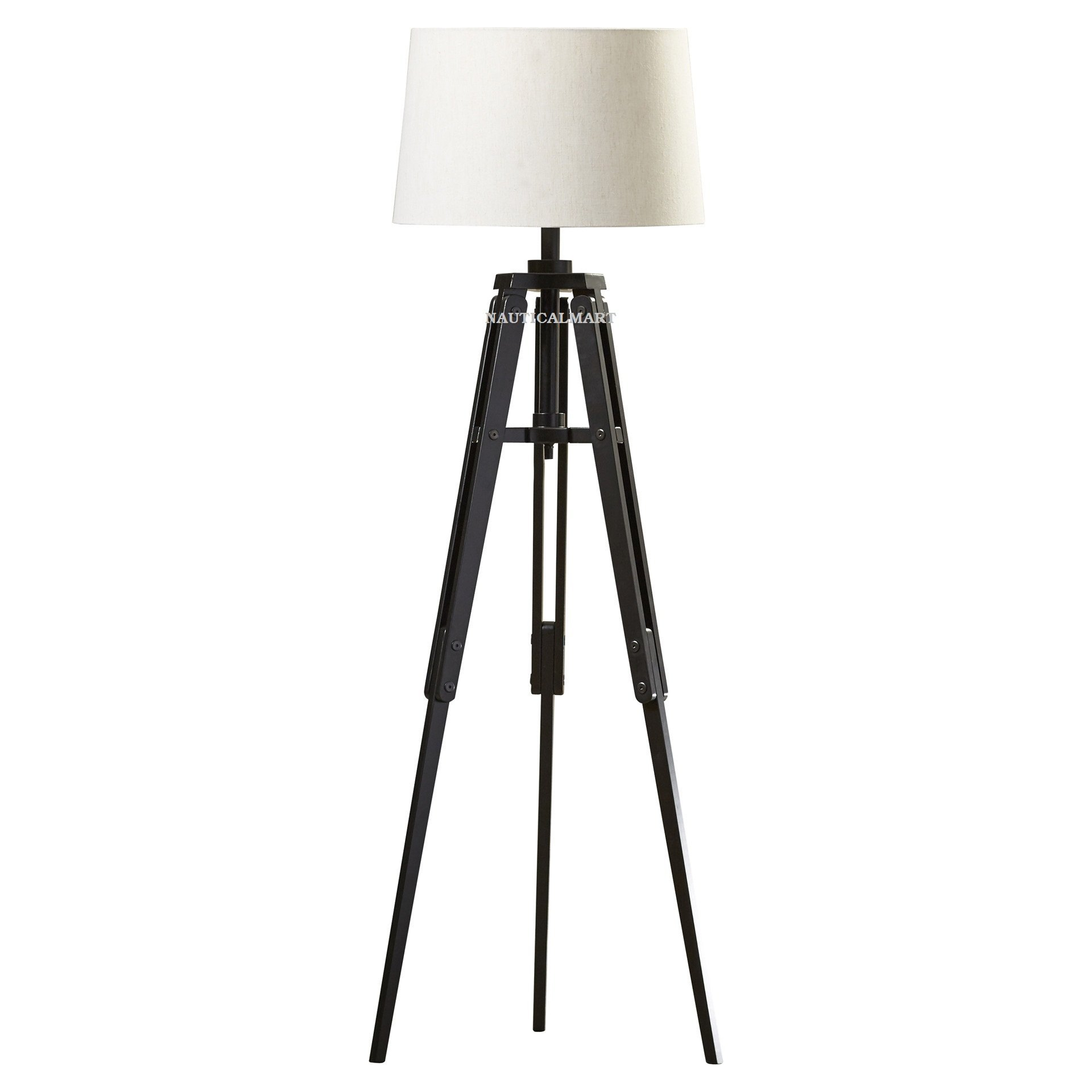 NAUTICALMART BLACK WOOD 62'' TRIPOD FLOOR LAMP FOR LIVING ROOM by NAUTICALMART