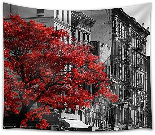 Red Fall Tree in Black and White NYC Street Scene on 2nd Avenue in The East Village of Manhattan New York City Fabric Wall