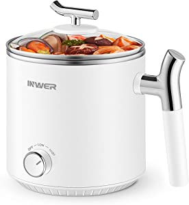 INWER Electric Hot Pot, 1.6L Mini Rapid Shabu Shabu Hot Pot, Stainless Steel Ramen Cooker with Temperature Control and Over-Heating Protection, Cooking Pot for Noodles, Egg, Soup, Oatmeal