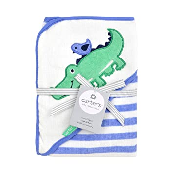 Carters Hooded Bath Towel - blue and green alligator