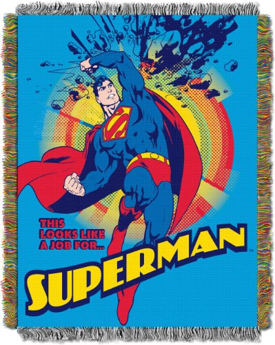 Superman Fleece - Warner Brothers DC comics Superman,Smash Woven Tapestry Throw Blanket, 48