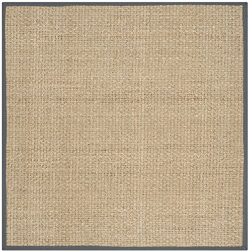 Safavieh Natural Fiber Collection NF114Q Basketweave Natural and  Dark Grey Seagrass Square Area Rug (8' Square) - Transitional 8' Square Rug