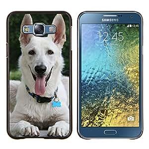 Pastor blanco perro jadeando Lengua- Metal de aluminio y de plástico duro Caja del teléfono - Negro - Samsung Galaxy E7 / SM-E700