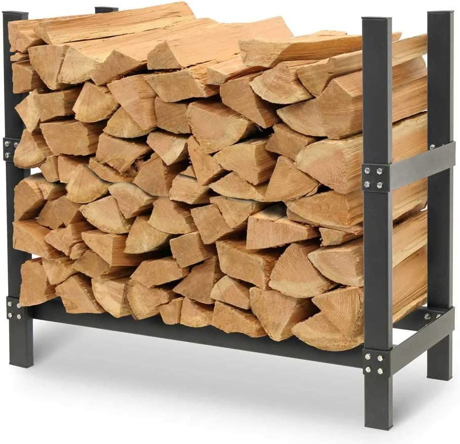 Amazon Com Pilgrim Home And Hearth Pro 36 Outdoor Firewood Rack Log Holder With Cover Wide X 14 Deep X 30 H Durable Black Powder Coat Furniture Decor