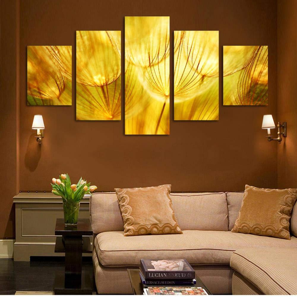 ISAAC ENGLAND 5 Panel Wandkunst Gold Blume Öl Poster auf Leinwand Quarz Kristall Abstrakte Gemälde Bilder Dekor Hd-40x60 40x80 40x100 cm