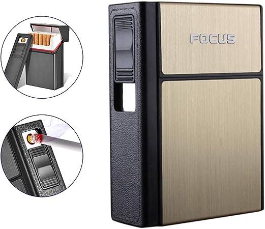 BovoYa Estuche de Cigarrillos con Encendedor, Encendedor de Carga 20 Estuches de Cigarrillos Paquete Duro Cigarrillo electrónico Hombres USB Desmontable Fumador Encendedor de Cigarrillos: Amazon.es: Hogar