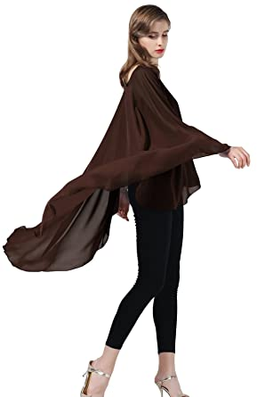 44ca1a9074ef5d Chiffon Shawl Women Cape Beach Cover Up Wedding Tops Bridal Capelet Evening  Wraps Brown  Amazon.co.uk  Clothing