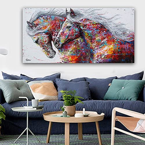 4 Sizes Carole4 Animal Wall Art Pictures for Living Room Home Decoration Waterproof Canvas Painting The Two Running Horse No Frame 60120cm