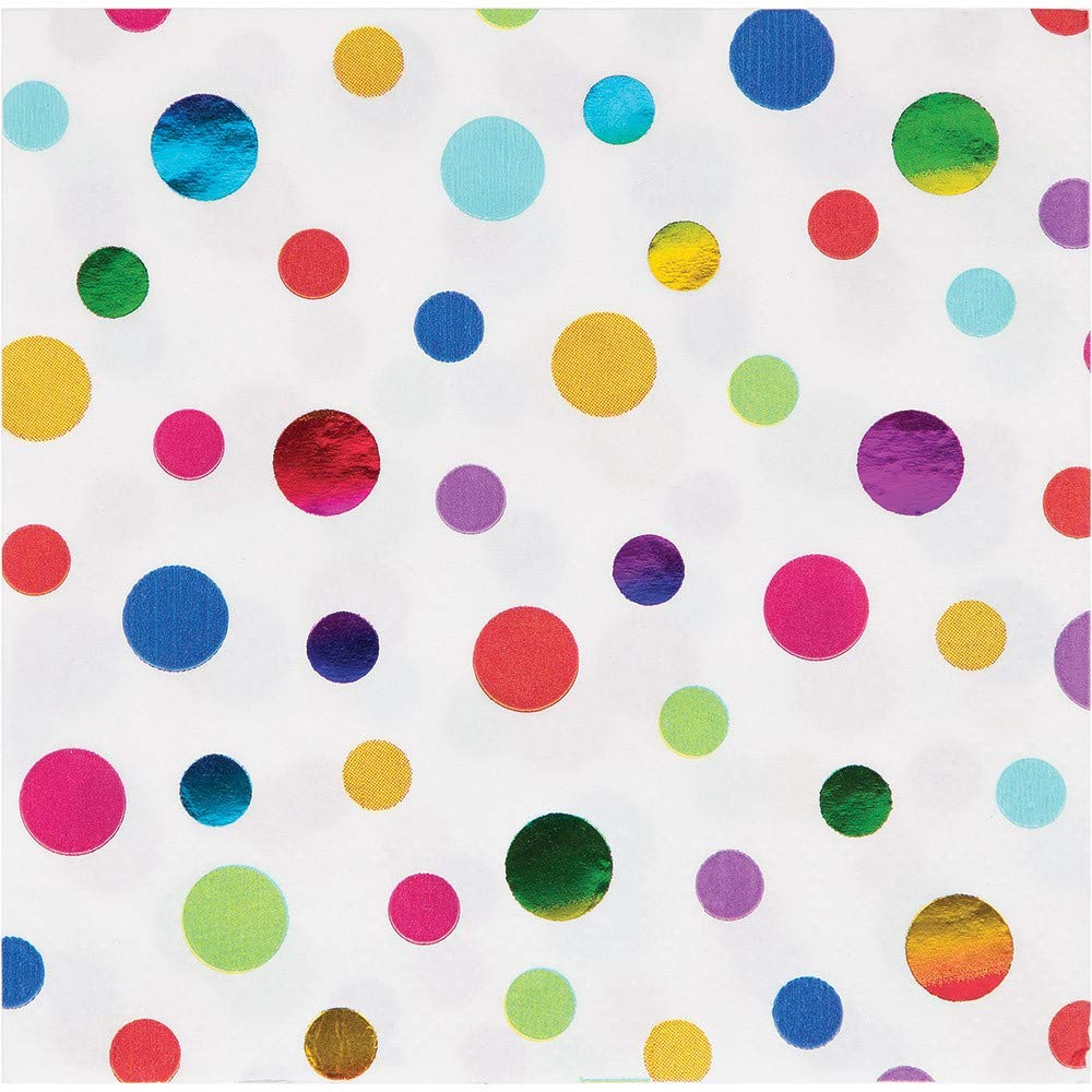 Club Pack of 192 White Rainbow Polka Dot Disposable Party Beverage Napkins 5''