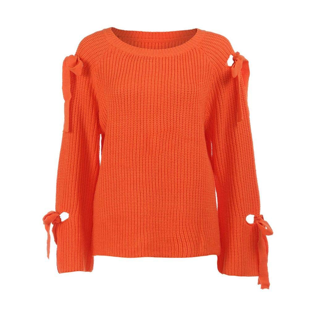 Clearance! Teresamoon Women Solid Long Sleeve Loose Knitted Sweater Jumper Knitwear Outwear at Amazon Womens Clothing store: