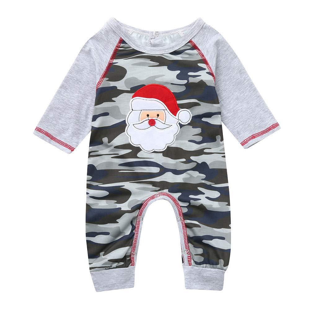 Jimmackey Neonato Natale Camuffamento Pagliaccetto, Bambino Manica Lunga Babbo Applique Tutine Body, da 3 A 24 Mesi Bebè da 3 A 24 Mesi Bebè