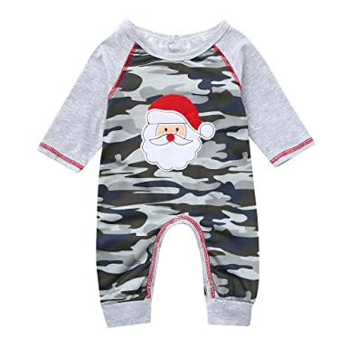 9a75fc5c1 Christmas Boys Rompers Set, Infant Baby Girls Fashion Santa Camouflage  Print Long Sleeve Jumpsuit Xmas Costume Playsuit Toddler Clothes Outfits:  ...