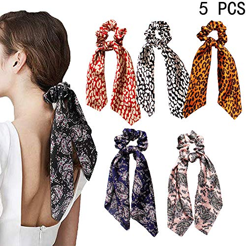 5Pcs Scarves Scrunchies Tropical Travel Style Elastic Hair Bands Hair Ties Rope Ponytail Holder Hair Accessories for Women and Girls (Leopard Headband - 5A)]()